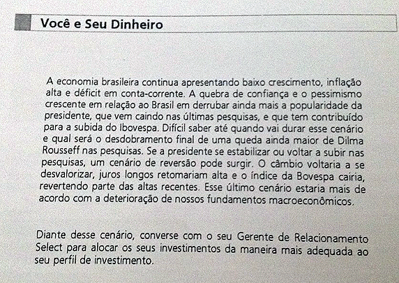 Santander alerta clientes para risco do 'fator Dilma'