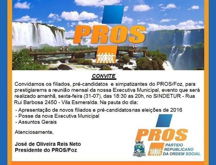 Em Foz, PROS inicia nesta sexta (31) articulação para eleições 2016