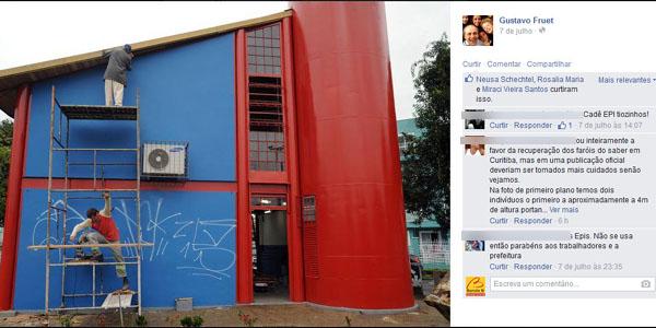 Fruet publica foto de operário sem equipamentos de segurança e leva bronca de internautas