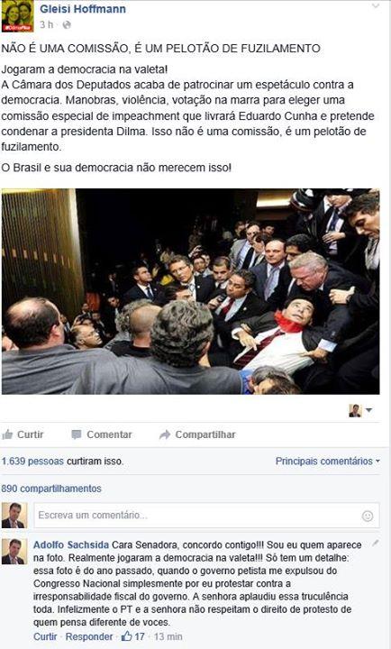Gleisi comete gafe e usa foto de oposicionista perseguido  pelo PT para atacar oposição