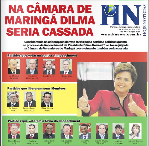 Na Câmara de Maringá Dilma seria cassada