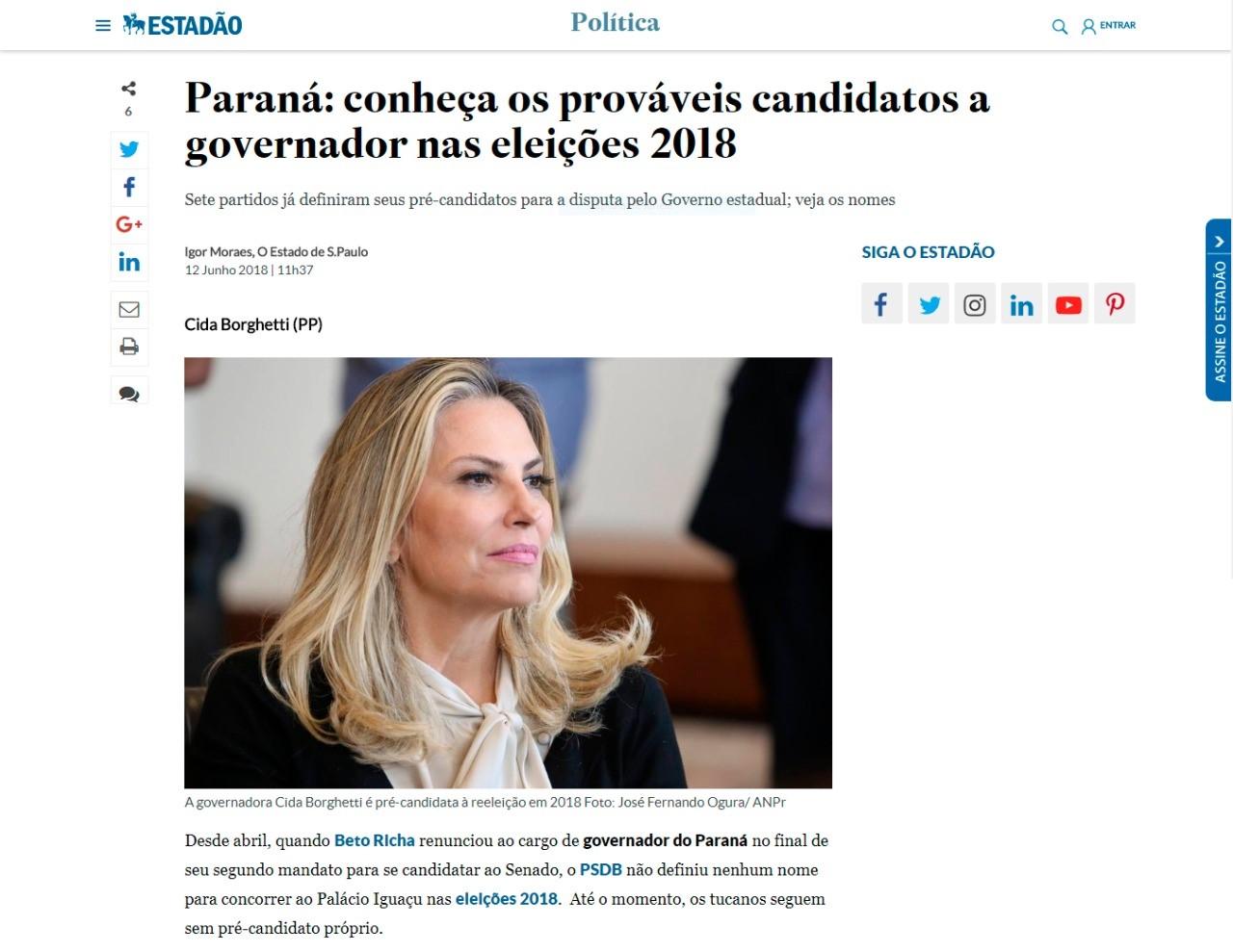 Estadão lista sete candidatos na disputa ao Palácio Iguaçu