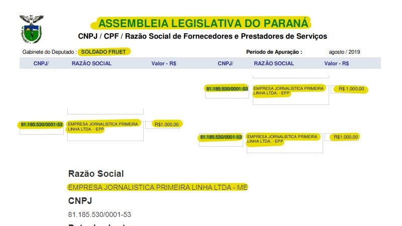 Entre 2019 e 2020, deputado Sr. Fruet realizou 7 divulgações de atividade parlamentar no jornal Primeira Linha, cada uma com o custo de R$1000, custeadas com dinheiro público via Assembleia Legislativa.